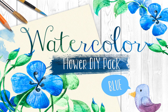 Watercolor Flowers Collection.Vector