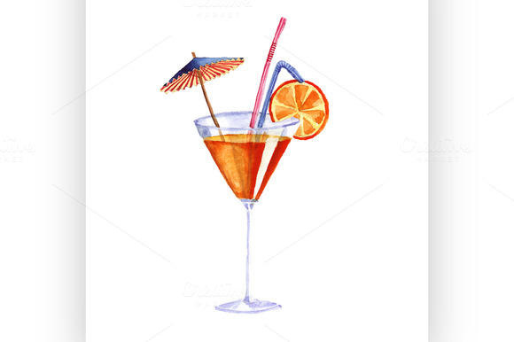 Cocktail Vector Watercolor Painting