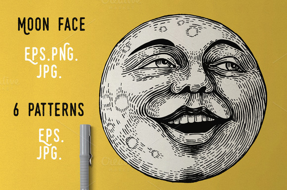 Moon Face Graphic Patterns