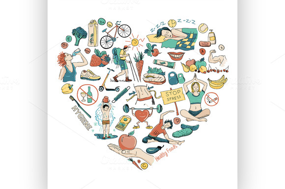 Healthy Lifestyle Heart Background
