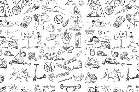 Seamless Pattern Healthy