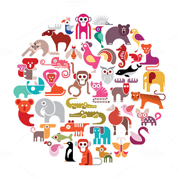 Animal Round Vector Illustration