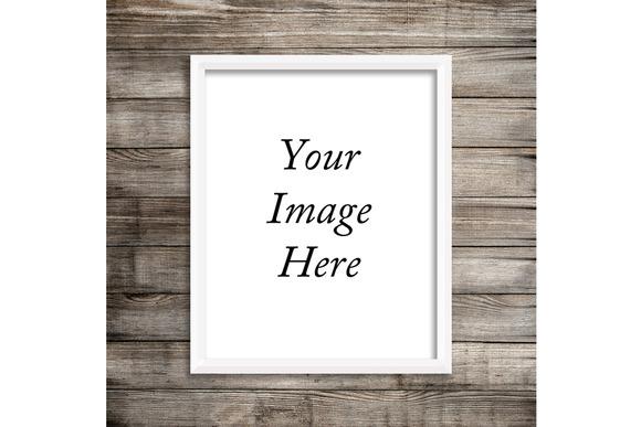 White Frame Mockup Wood Background