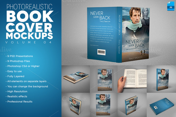 Photorealistic Book Cover Mackups V4