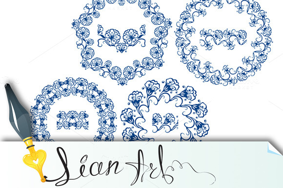 Set Of Blue Floral Circle Frames