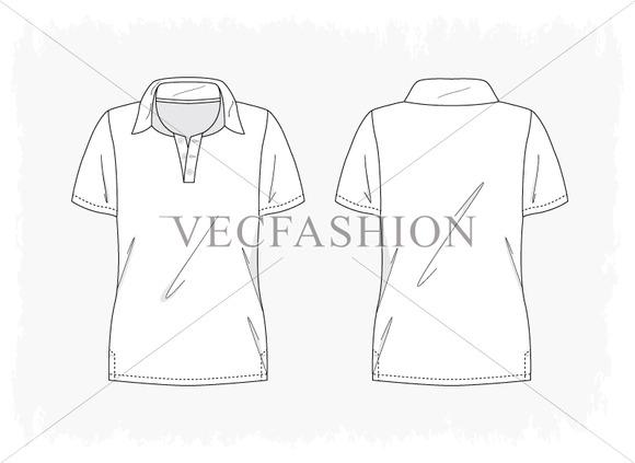 Woman Fitness Polo Shirt Vector