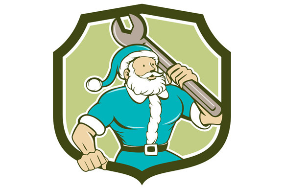 Santa Claus Mechanic Spanner Shield