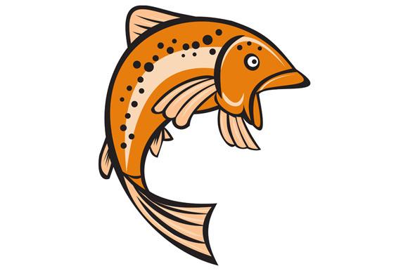 Trout Rainbow Fish Jumping Up Cartoo