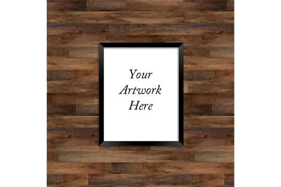 Poster Frame Mockup Wood Background