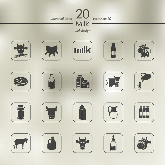 Set Of Milk Icons