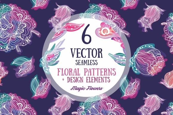 Magic FLowers 6 Vector Patterns