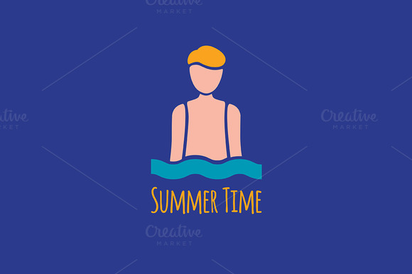 Summer Man In Sea Waves Logotype