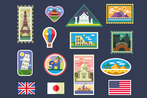 Stickers From Various Countries