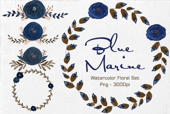 Blue Marine Watercolor Floral Set