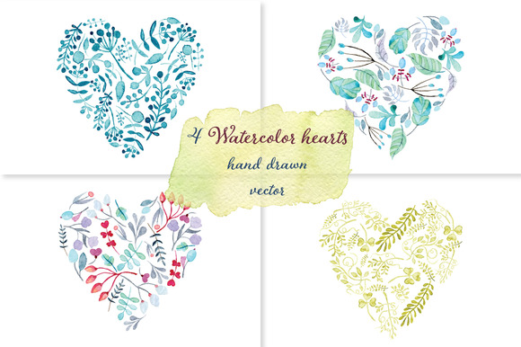Watercolor Floral Hearts Set