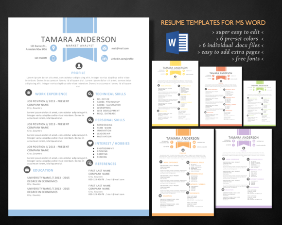 2 In 1 Ribbon Word Resume Pack