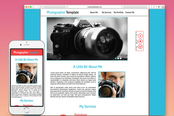 Photographer One Page Muse Template