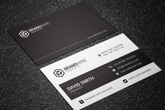 Simple Black White Business Card