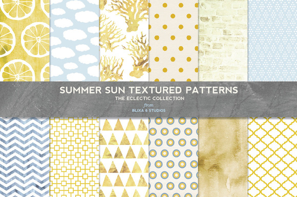 Summer Sun Textured Digital Patterns