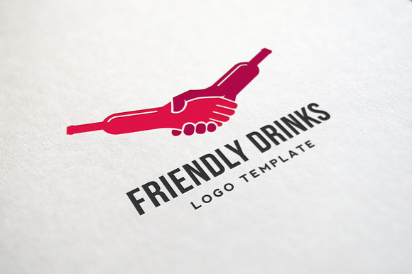 Friendly Drinks Bar Logo Template