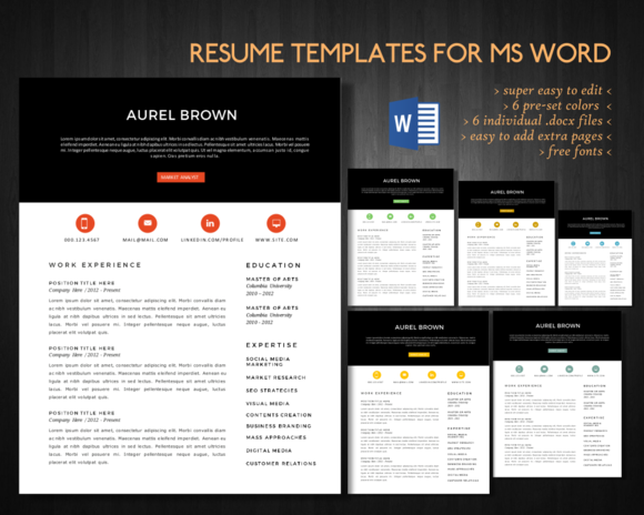 2 In 1 Modern Word Resume Pack