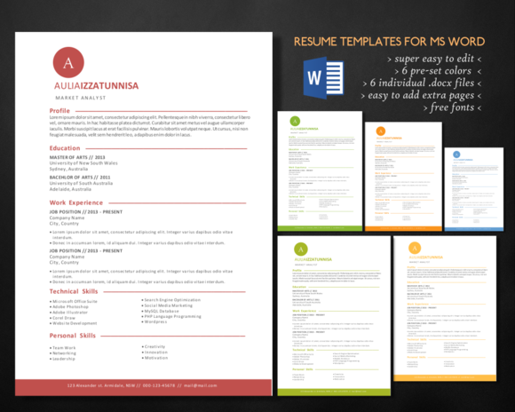 Simple 3 In 1 Resume For MS Word