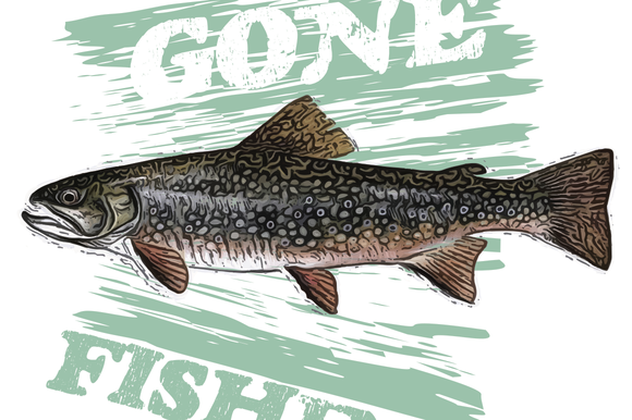 Gone Fishing Trout Illustration