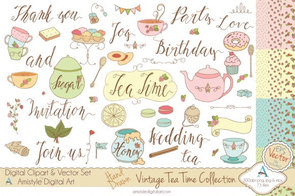 Vintage Tea Time Set-Clipart Vector