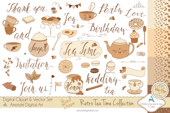 Retro Tea Time Set-Clipart Vector
