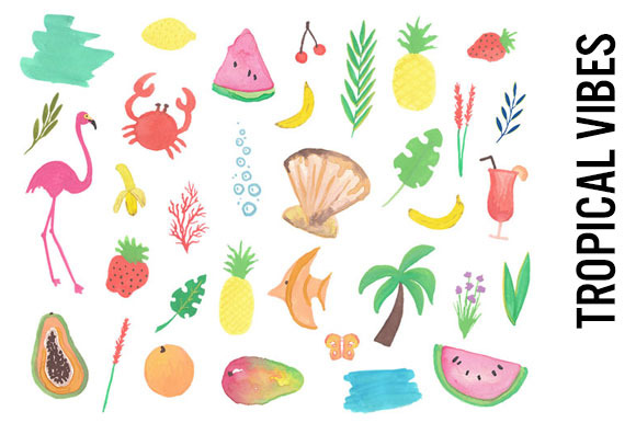 Tropical Watercolor Clip Art Doodles
