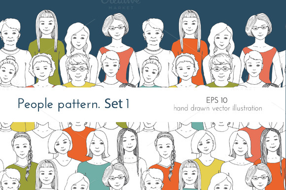 Seamless Patterns Of People 1 Women