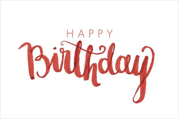 Birthday Modern Calligraphy Vector