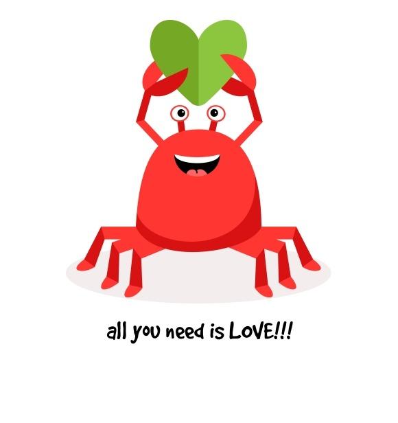 Cartoon Crab In Love