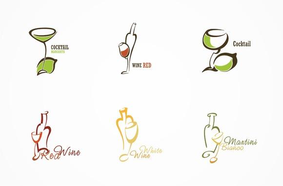 Set Of 6 Logos Alcoholic Drinks