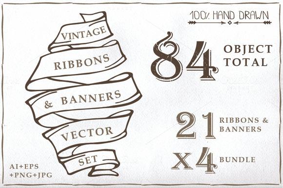 Old Ribbon Banner Set 01
