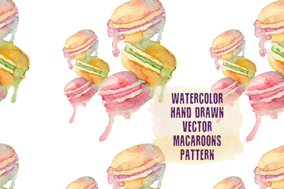 Watercolor Macaroons Vector Pattern