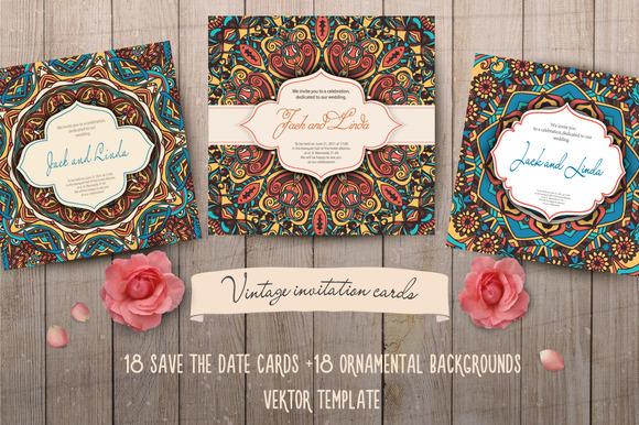 36 Invitation Cards Template Vector
