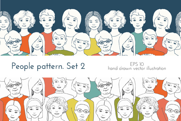Seamless Patterns Of People 2 Women