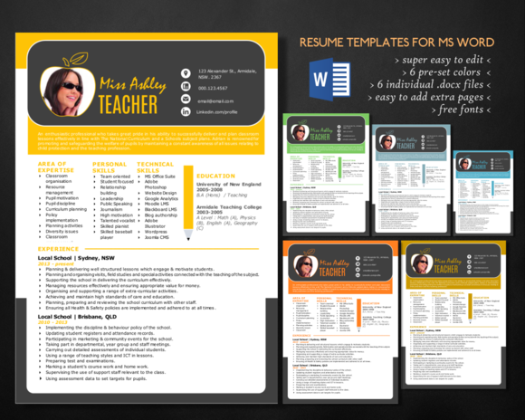 Stylish 3 In 1 Teacher Word Resume