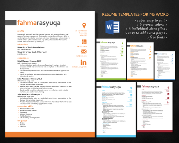 Modern 3 In 1 Word Resume Templates