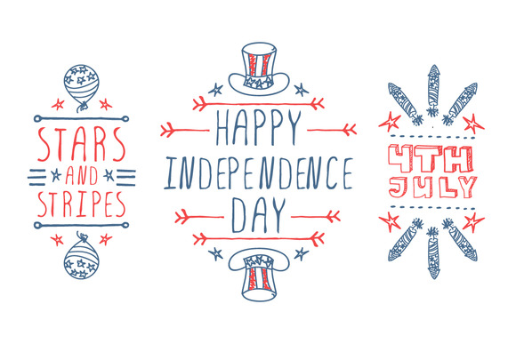 4th Of July Typographical Elements