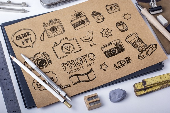 Retro Photo Doodles Set Pattern