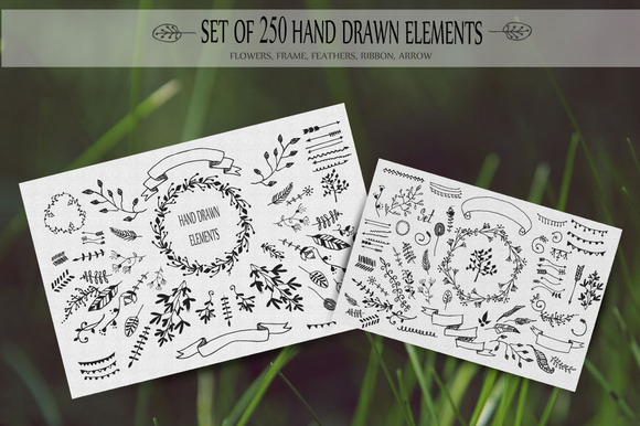 250 HandSketched Vector Set