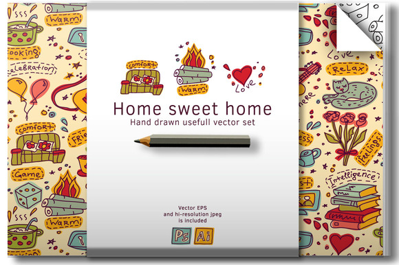 Housewarming Home Vector Set