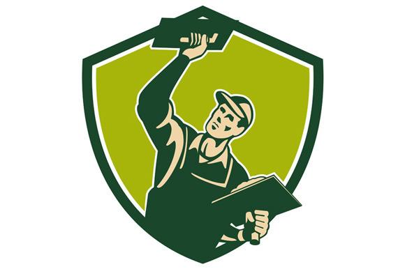 Plasterer Mason Worker Trowel Shield