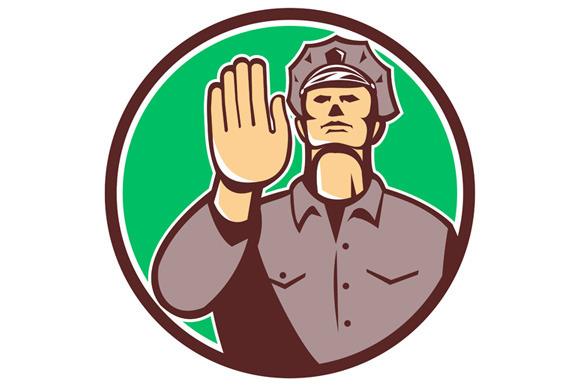 Traffic Policeman Hand Stop Sign Cir