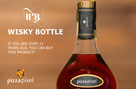 Easy Wisky Bottle Mockup