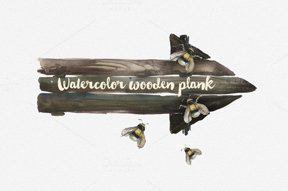 Watercolor Wooden Plank