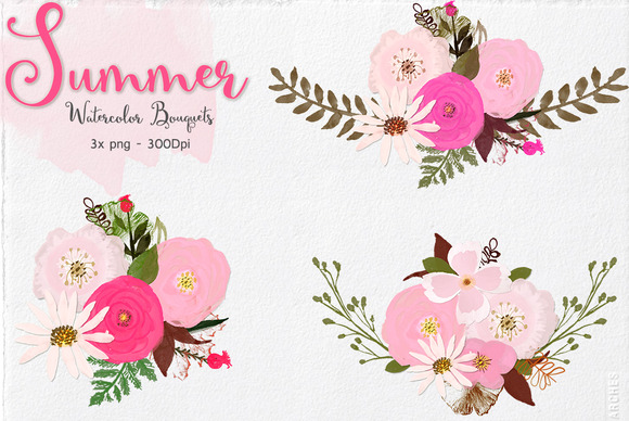Summer Watercolor Bouquets