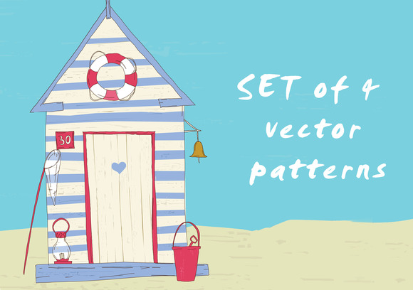 4 Nautical Vector Seamless Patterns
